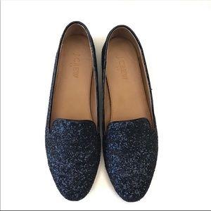 J CREW Blue Glitter Loafers